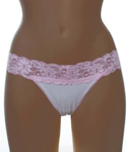 Lagoon bézs-v. rózsaszín csipke pántos női tanga