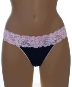 Lagoon sötétkék-v. rózsaszín csipke pántos női tanga