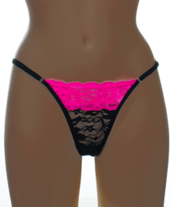 Kreona fekete-pink csipkés állítható pántos női tanga