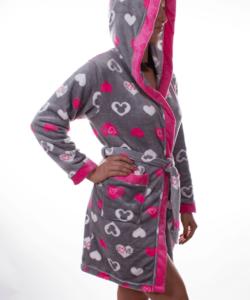 Pihe puha wellsoft női köntös pink szivecskés