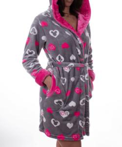 Pihe puha dupla kapucnis fehér-pink szívecskés női köntös