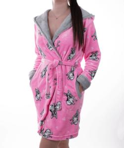 Pihe puha dupla kapucnis bulldogos rózsaszín női köntös