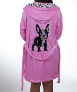 Rózsaszín francia bulldog pihe puha wellsoft női köntös