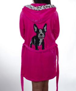Pink francia bulldog pihe puha wellsoft női köntös