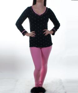 Lucifer fekete pöttyös női pamut pizsama