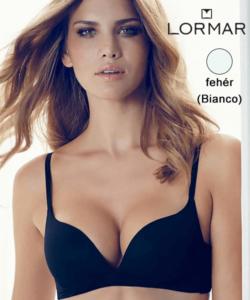 Lormar merevítő nélküli push up melltartó fehér Desiderio B kosár