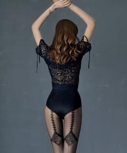 Fiore Diamond fekete mintás harisnya nadrág 20D