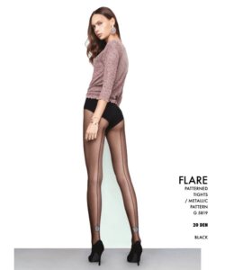 Fiore Flare fekete mintás harisnya nadrág 20D
