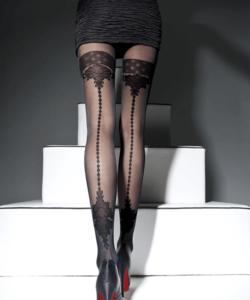 Lineaoro fekete combfix mintás női harisnyanadrág Apriel 40d