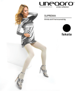 Lineaoro fekete mintás akril női harisnyanadrág Suprema