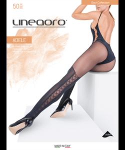 Lineaoro fekete combfix mintás női harisnyanadrág 50d Adele