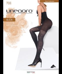 Lineaoro fekete mintás női harisnyanadrág 70d Alicia