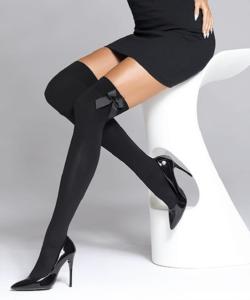Fekete masnis térdfeletti női harisnyanadrág 80D Cameo