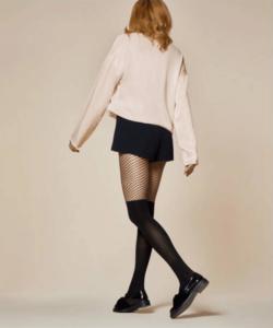Fiore fekete mintás térdfölött necc harisnyanadrág 60D Femmes