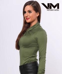 Victoria Moda csavart nyakú olajzöld női body