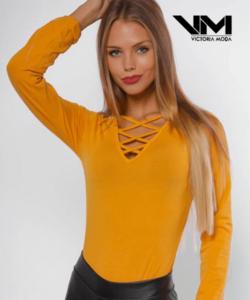 Victoria moda mustár keresztpántos női body