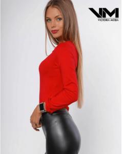 Victoria moda piros keresztpántos női body