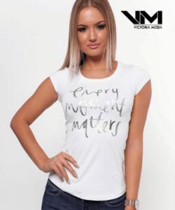 Victoria moda fehér nyomott mintás női póló
