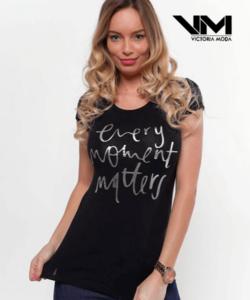 Victoria moda fekete nyomott mintás női póló