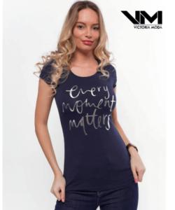 Victoria moda sötétkék nyomott mintás női póló