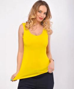Victoria moda sárga ujjatlan basic női felső