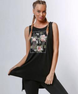 Victoria moda mintás fekete női felső
