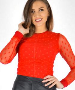 Piros tüll pöttyös női body