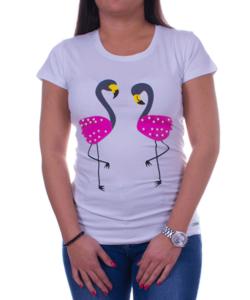 Női fehér póló flamingó