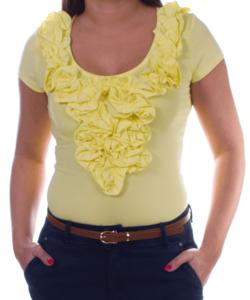 Kikiriki citromsárga fodros női felső