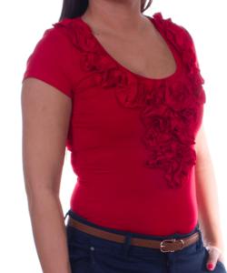 Kikiriki piros fodros női felső