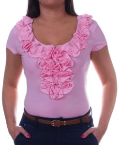 Kikiriki világos rózsaszín fodros női felső
