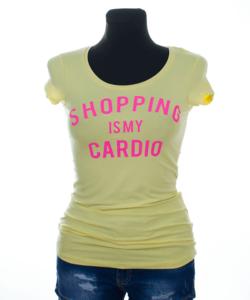 Victoria moda citromsárga feliratos női póló
