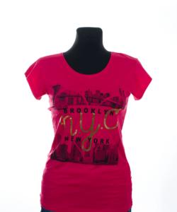 Korall színű mintás női póló