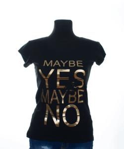 Fekete mintás női póló