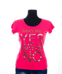 Neon pink mintás női póló