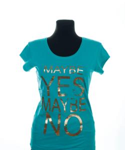 Mentazöld mintás női póló