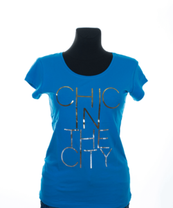 Türkiz kék mintás női póló