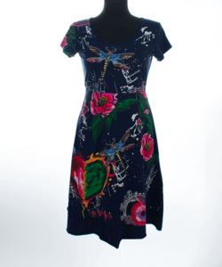 Sötétkék virágos női ruha plus size