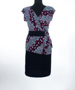 Sötétkék-fehér-piros mintás alkalmi női ruha plus size