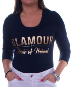 Sötétkék glamour női felső