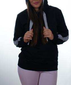 Fekete-szürke kapucnis női felső