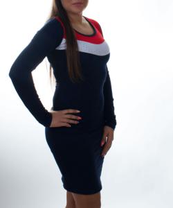 Sötétkék-piros gyöngyös női tunika