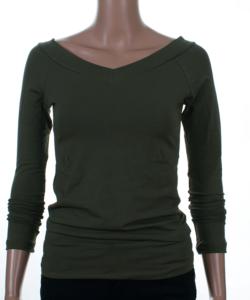 Khaki zöld v-nyakú női felső
