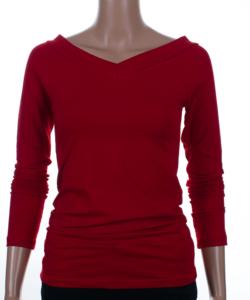 Piros v-nyakú női felső
