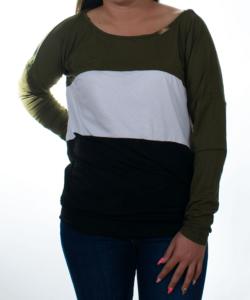 Khaki zöld-fehér-fekete női felső