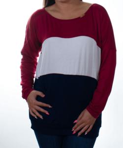 Piros-fehér-kék női felső