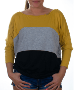 Mustár-szürke-fekete női felső
