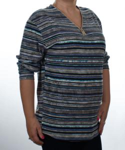 Bézs csíkos mintás női felső plus size(maxi)