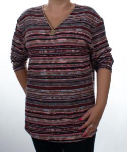 Bordó csíkos mintás női felső plus size(maxi)