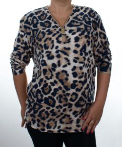 Fekete-fehér leopárd mintás női felső plus size(maxi)